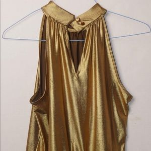 SIONI Womens Large Metallic Gold Draped Party Top